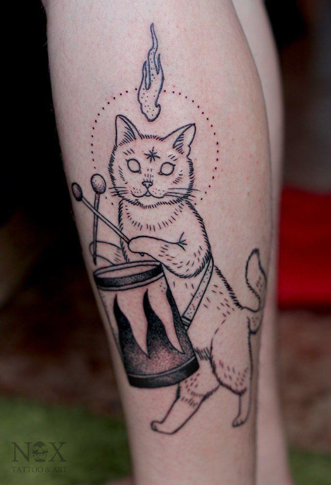 #dancing #cat #drums #tattoo
