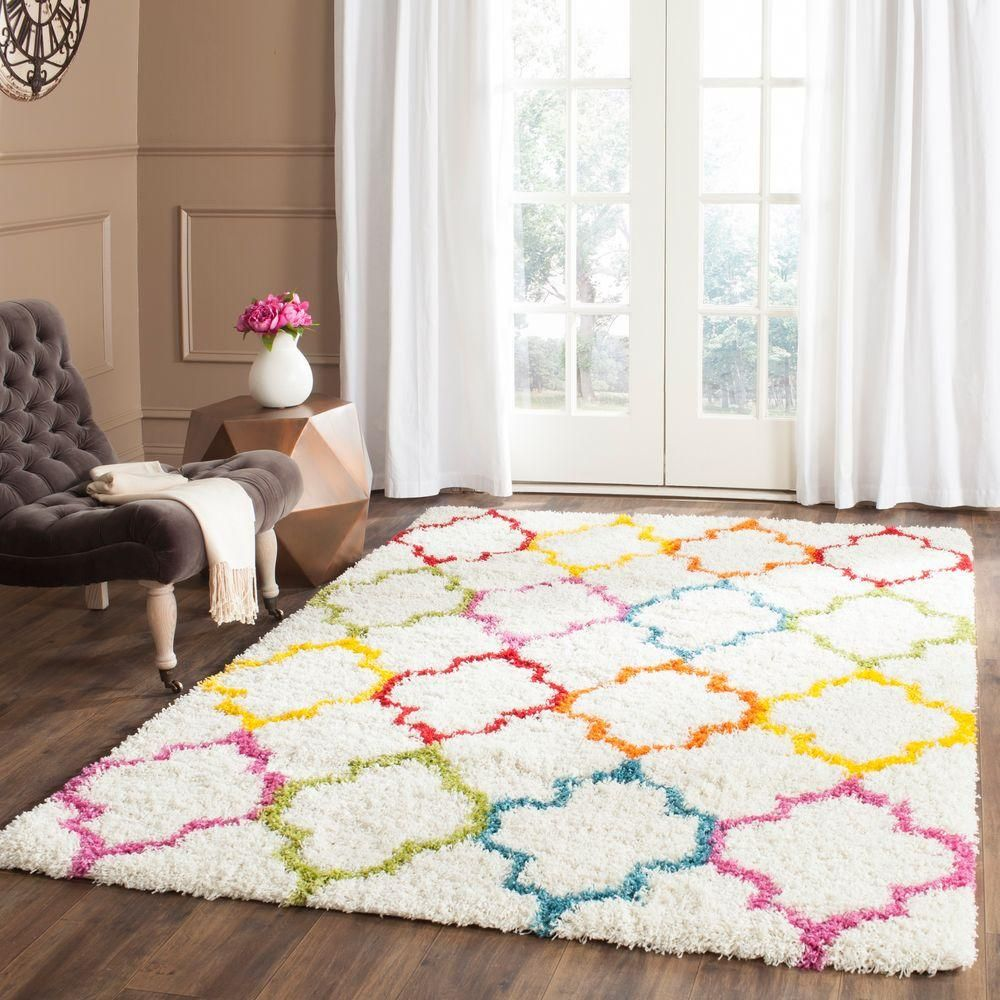 Kids Shag Ivory Multi 8 Ft 6 In X 12 Ft Area Rug Kids Area Rugs Kids Rugs Colorful Rugs