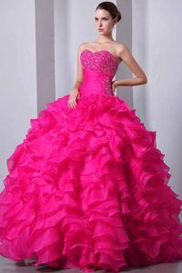 f4a8a8781a8 Hot Pink Sweetheart Ball Gown Organza Quinceanera Dress with Ruffles and  Beading