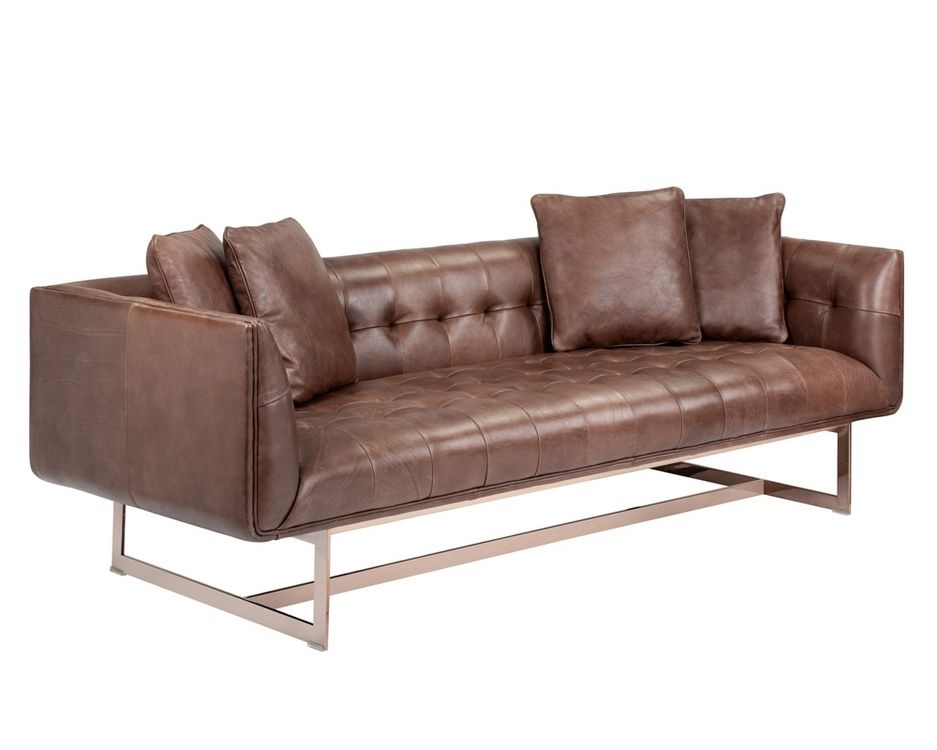 Matisse Sofa Rose Gold Saddle Leather W 4 Pill Sofa