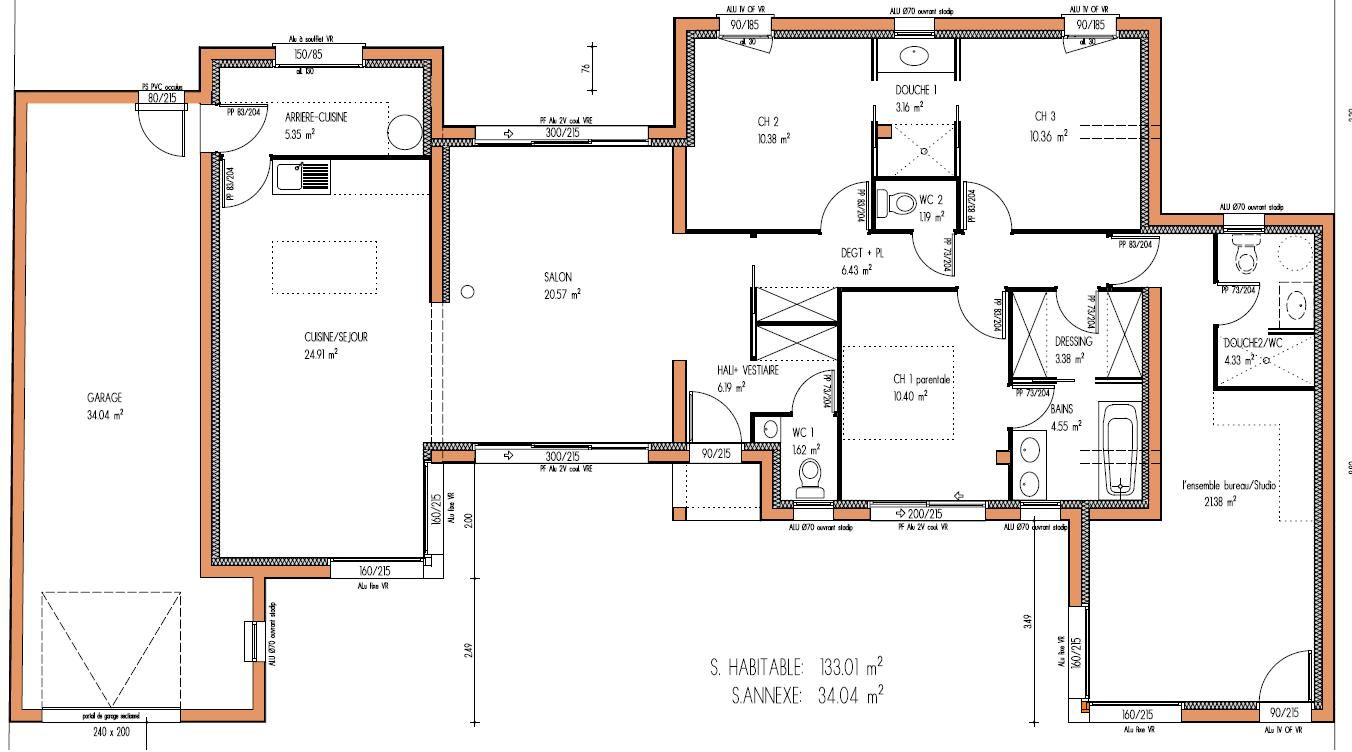 Maison design 133 m 3 chambres plan maison pinterest for Photo plan maison