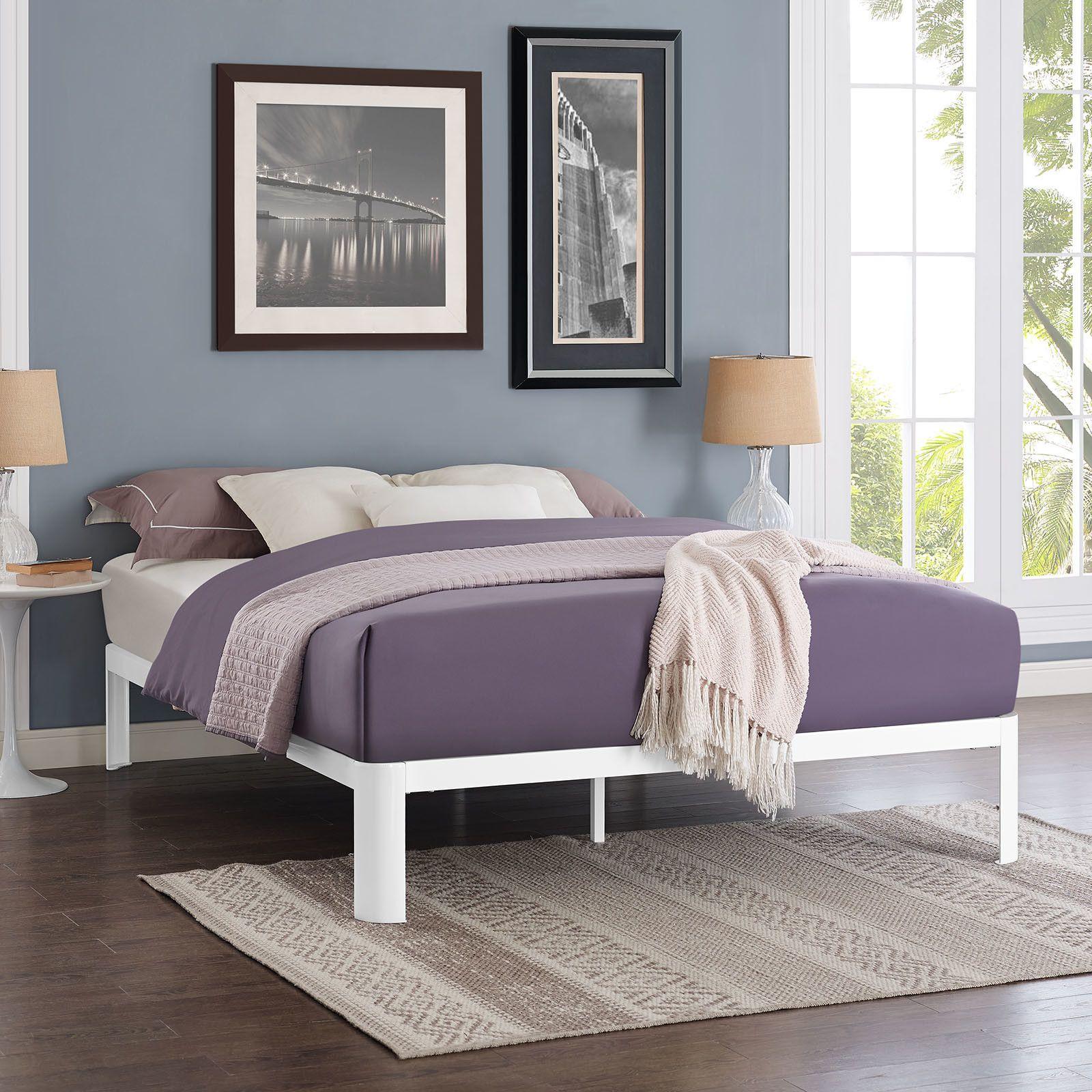 Customer Image Zoomed Steel bed frame, White bed frame