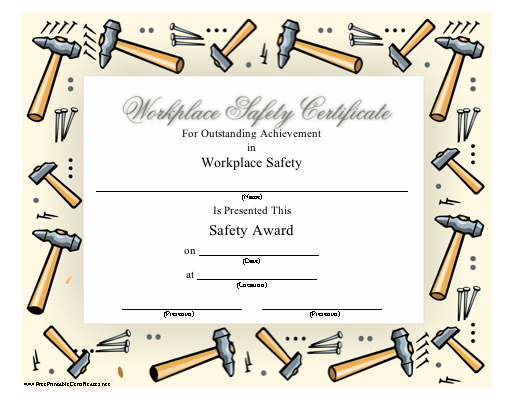 A printable safety award certificate recognizing outstanding a printable safety award certificate recognizing outstanding achievement in workplace safety illustrations of hammers and yadclub Choice Image