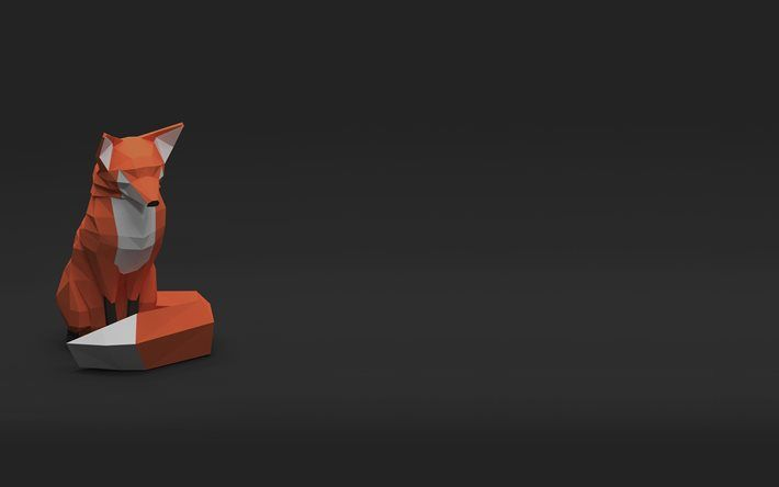 Fox 4k 3d Creative Gray Background Low Poly Low Poly