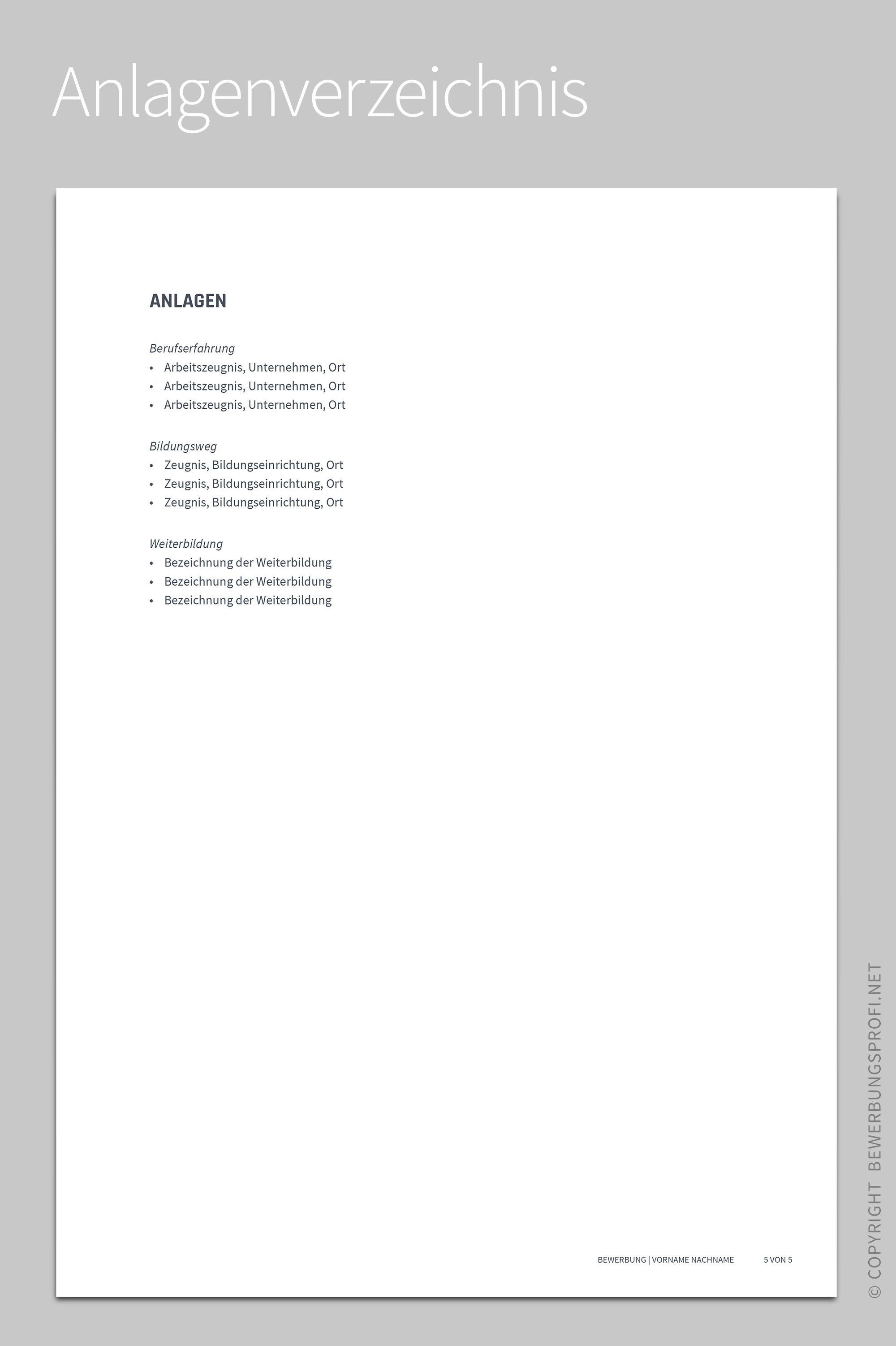 Anlagenverzeichnis Libero | Bewerbung | Pinterest