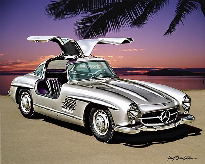 Auto Art Print Mercedes Benz 300sl Gull Wing Coupe Classic Etsy Classic Cars Sports Cars Luxury New Sports Cars