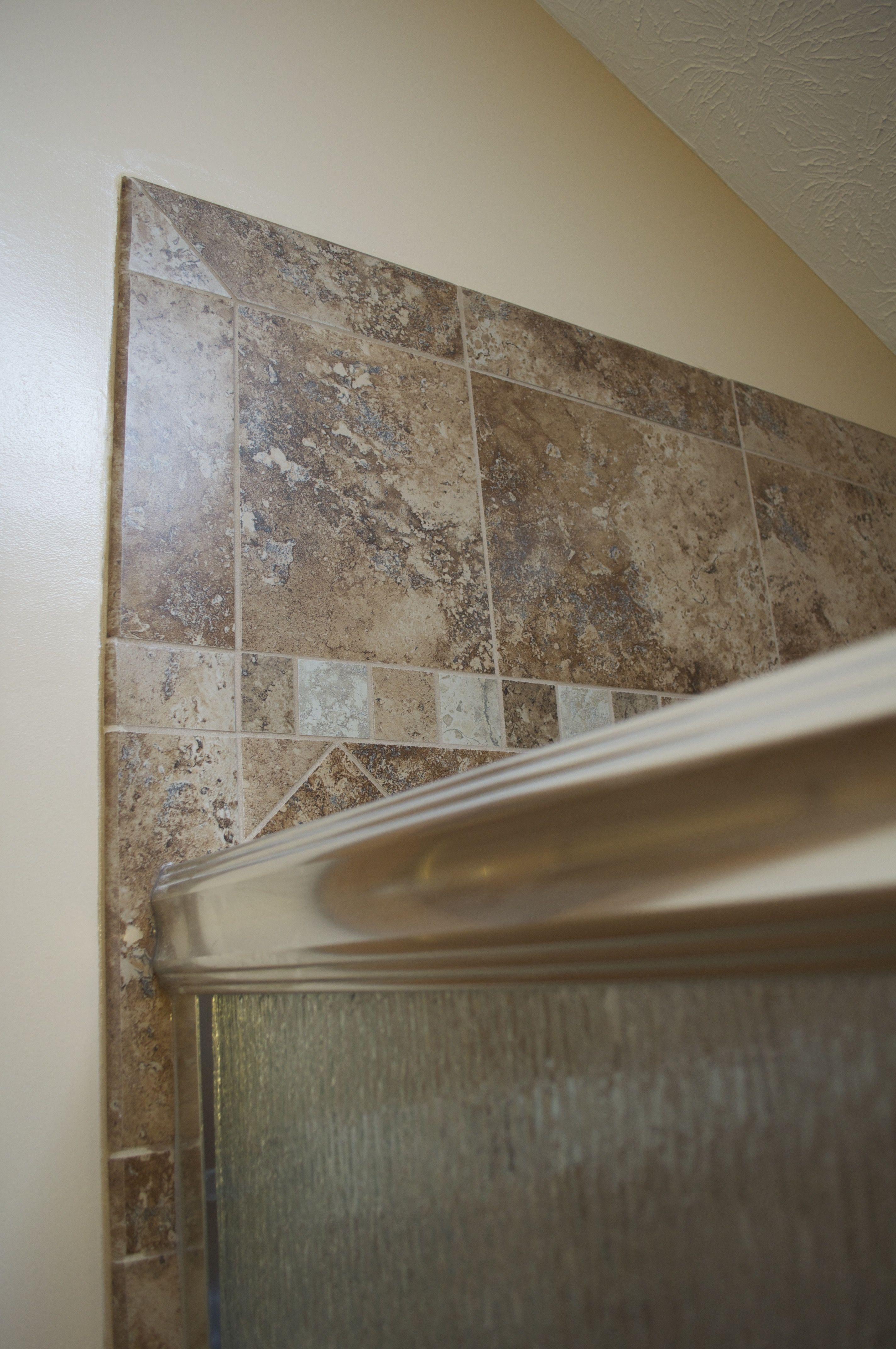 tiled shower with bullnose tile edge