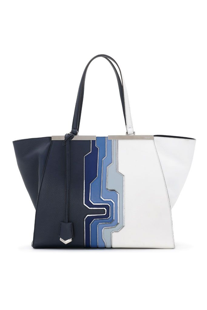 0aa0ff72ec Fendi Blue Multicolor Circuit Inlay 3Jours Tote Large Bag - Spring 2014