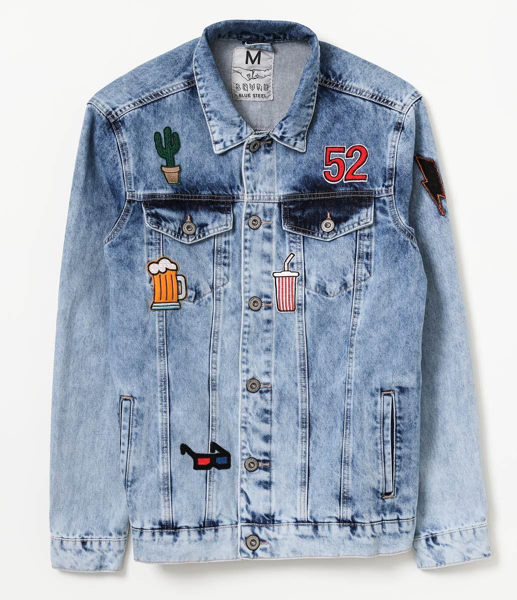 Jaqueta masculina Lavagem clara Manga longa Com patches Com forro Com  puídos Com bolsos Marca  49a5ff76f6dc4