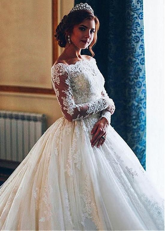 [244.80] Attractive Tulle Off-the-shoulder Neckline Ball Gown Wedding Dress With Lace Appliques & Belt - lilybridalshop.com
