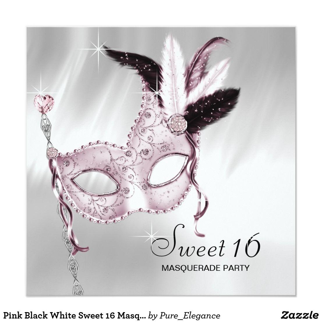Pink Black White Sweet 16 Masquerade Party Card | Pink sweet 16 ...