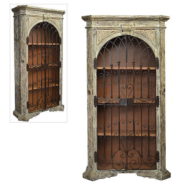 French White Cabinet Arched Iron Doors Mahogany Distressed