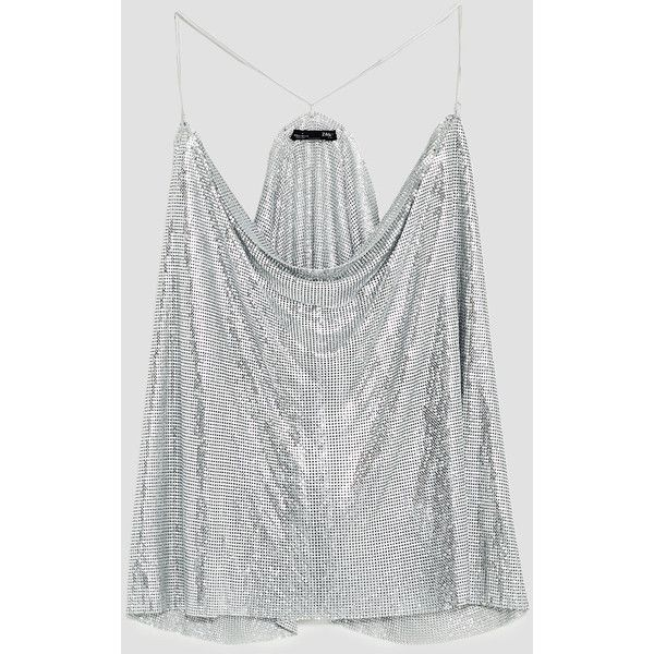 CHAINMAIL TOP - View all-T-SHIRTS-WOMAN | ZARA United Kingdom (€34) ❤ liked on Polyvore featuring tops, t-shirts, chain mail top, chainmail t shirt, white t shirt, white tee and chainmail top