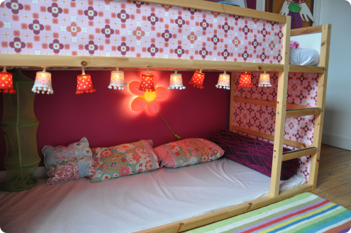 Ikea Reversible Kura Bed I Like The Cute Hanging Lights Underneath Bunk