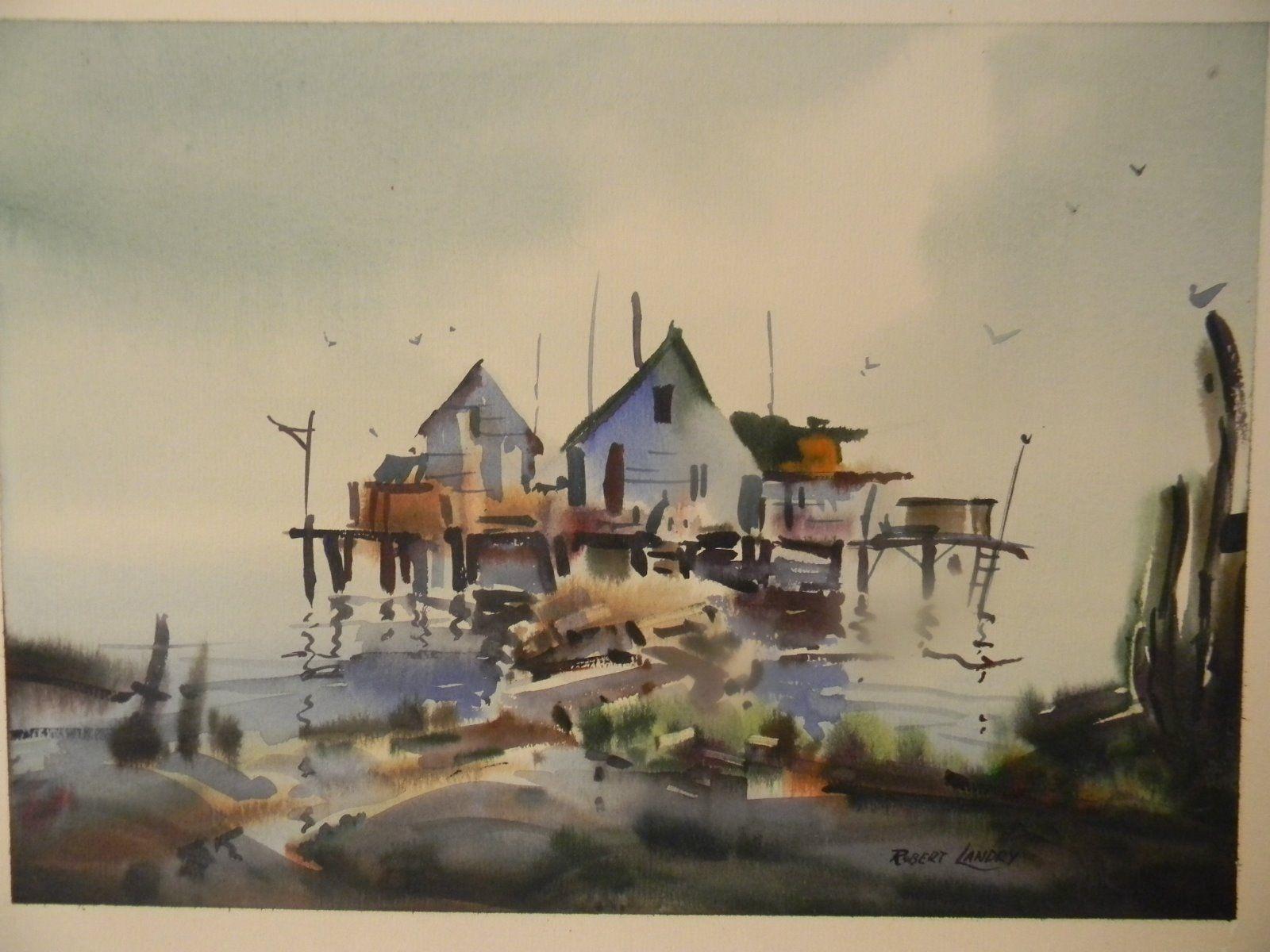 Robert Landry Original Signed Coastal Watercolor Ebay Painting
