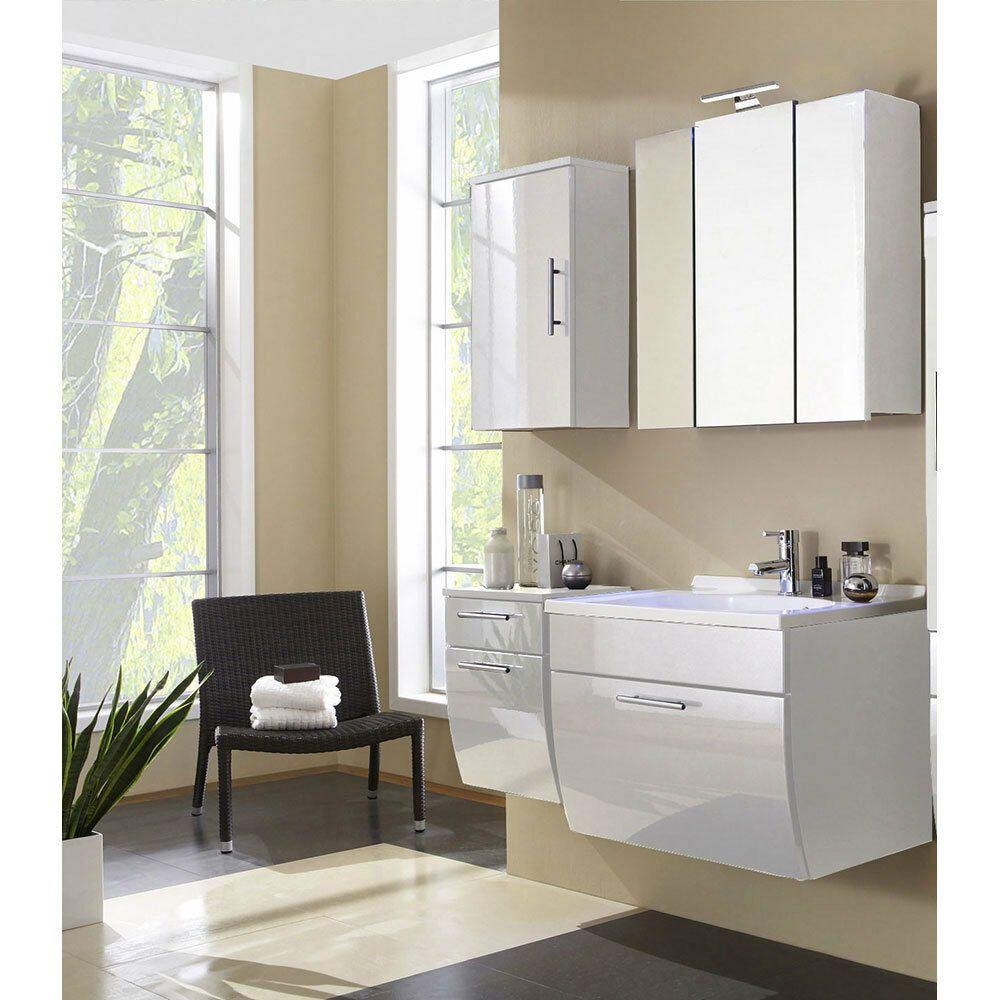Bad Badezimmer Set Waschplatz Led Spiegelschrank Hangeschrank Hochglanz Weiss In 2020 Badezimmer Set Spiegelschrank Unterschrank