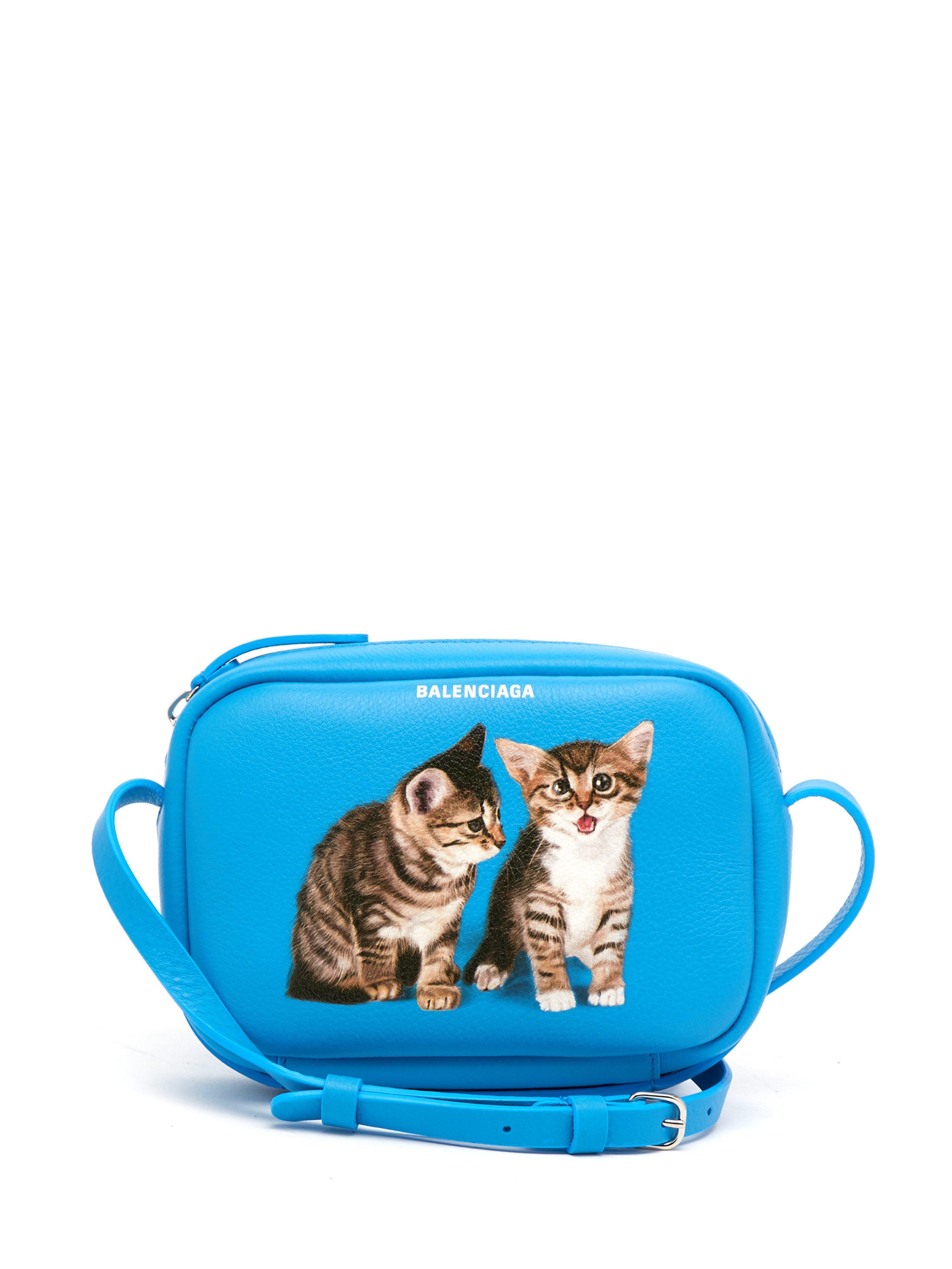 Everyday Camera Xs Kitten Print Cross Body Bag Blue Balenciaga Shoulder Bags Tui Xach Tui