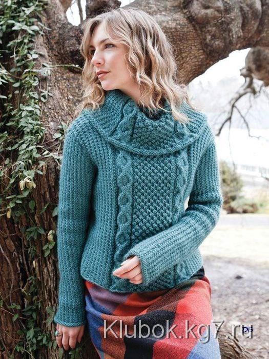 Pullover with surround collar. | aran knitting | Pinterest | Blusas