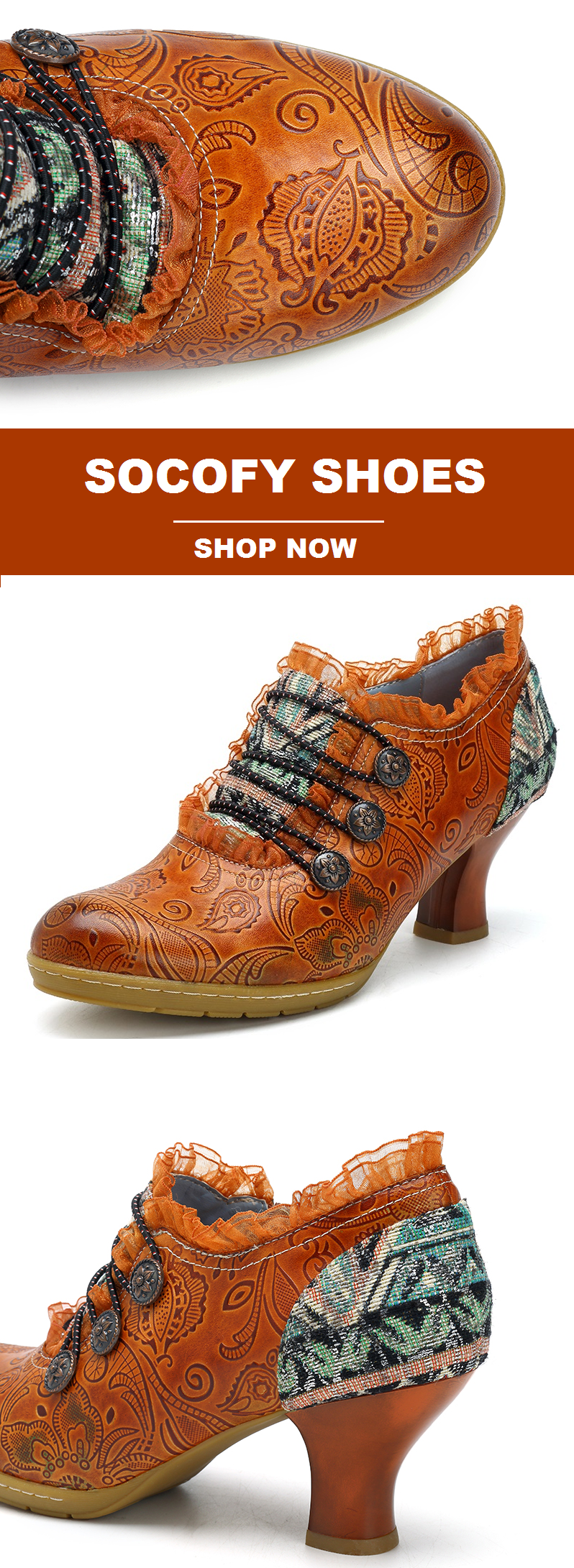 US$68.20 Only! SOCOFY Retro Buckle Printing Mid Heel Leather Pumps Shoes Make Yo... 11