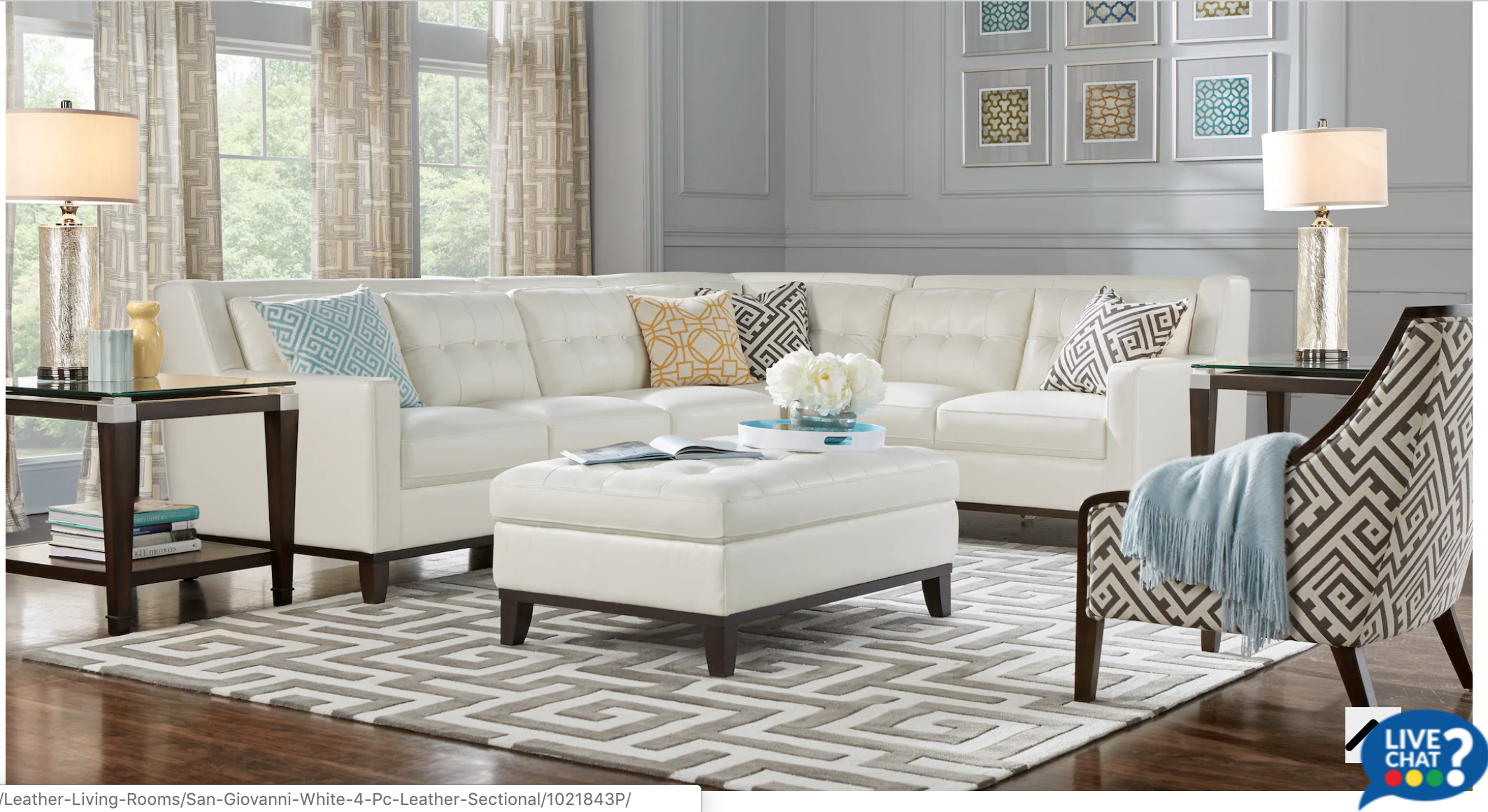 Rooms to Go: San Giovanni White 4pc Leather Sectional ...
