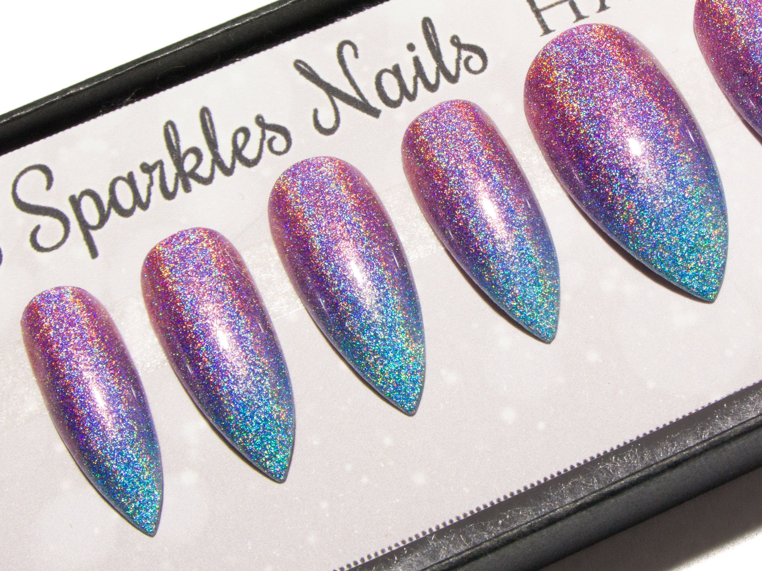 Ombre Nails Holographic - Stiletto False Nails - Holo Press On Nails ...