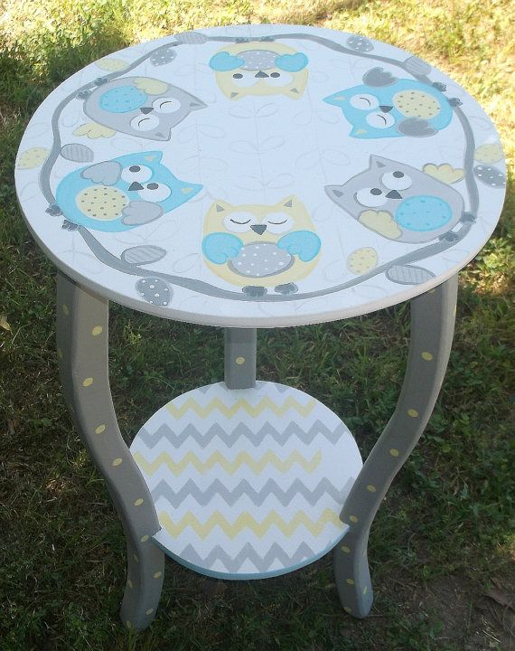 Round Night Stand Bed Side Table End Table NURSERY Table OWLS Made To Order  KIDS