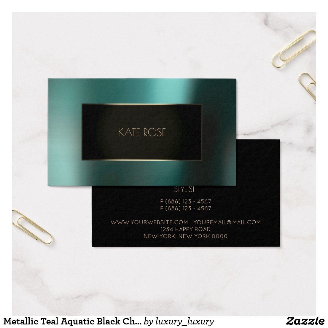 Metallic Teal Aquatic Black Champaign Frame Vip Business Card ...