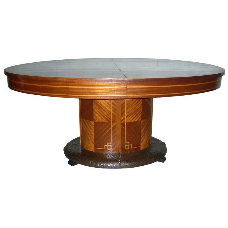 French Oval Dining Table with Hammered Copper