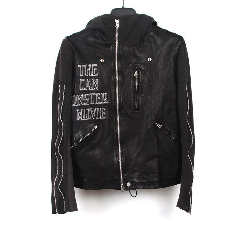 "Undercover 13ss zipper-detailed ""she brings the rain"" hooded leather jacket"
