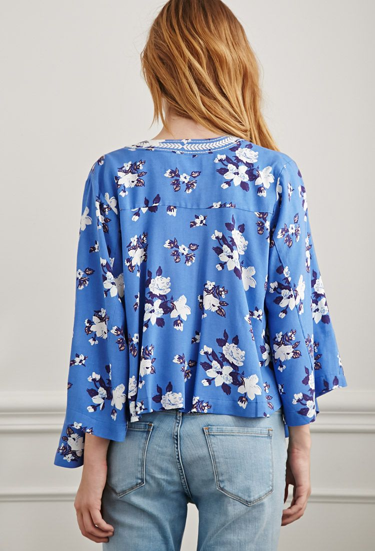 Embroidered Floral Print Kimono | Forever 21 - 2000053334