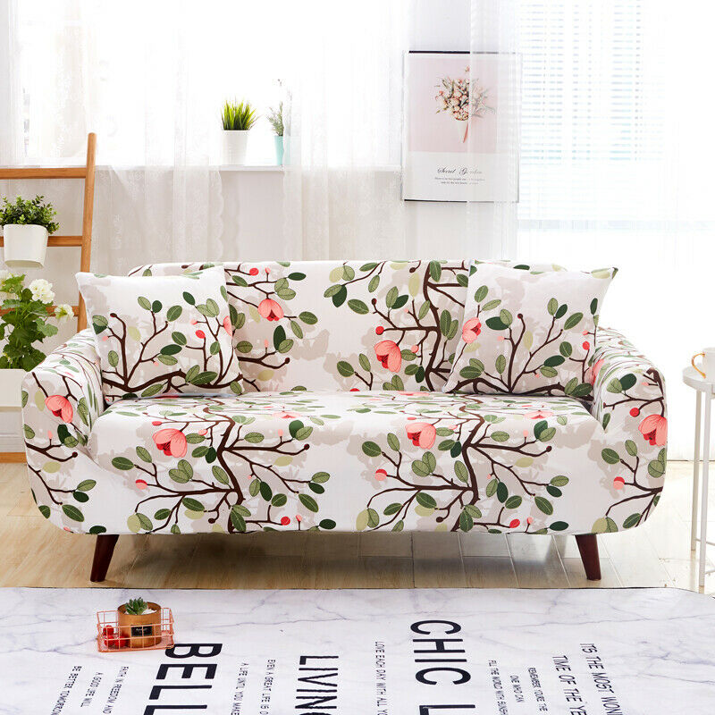 1 2 3 4 Seater Washable Stretch Fabric Sofa Cover Quilted Throw Cover Slipcover Ebay Printed Sofa Arm Chairs Living Room Sofa Covers
