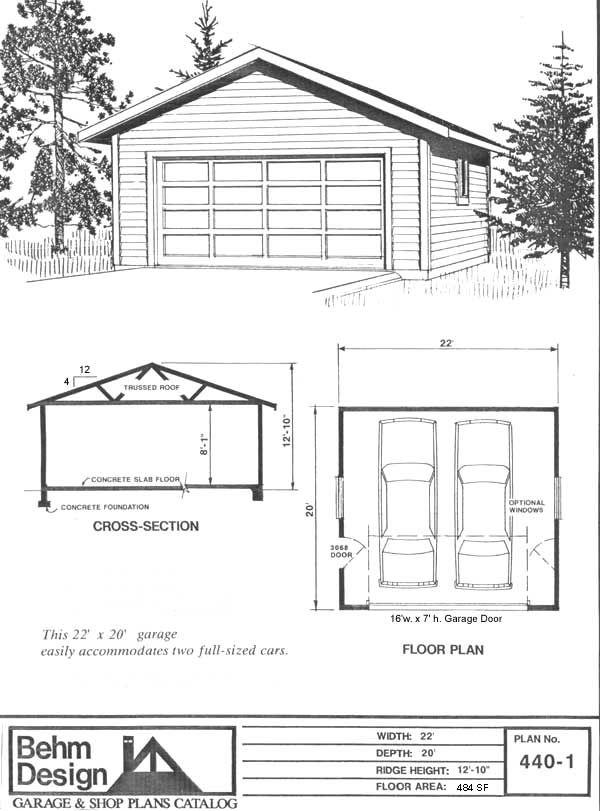Garage Plan 440 1 2 Car Garage Plans Garage Design Garage Plans