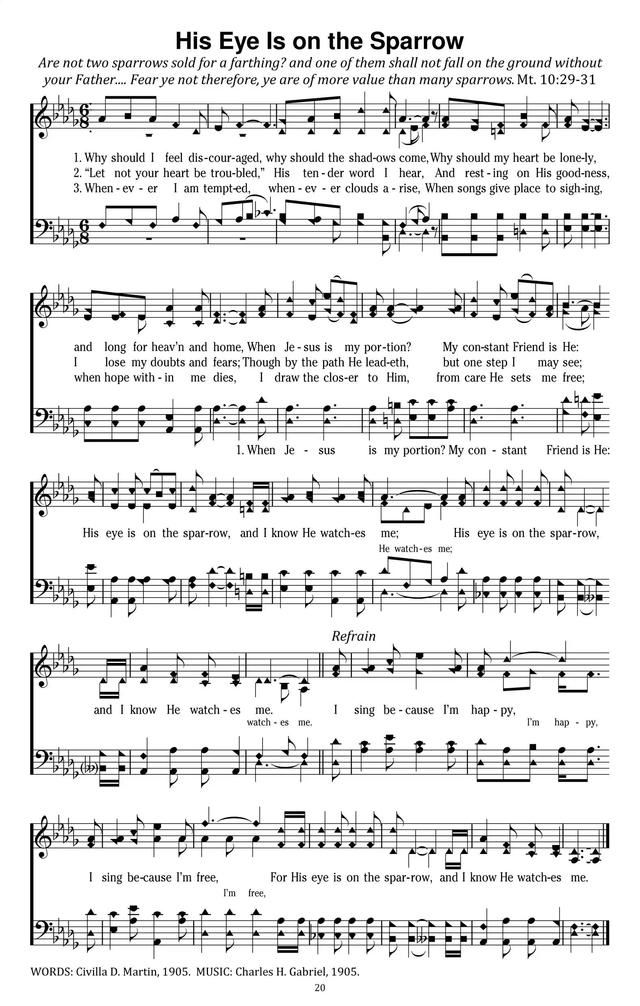 His Eye Is On The Sparrow Hymnary Org Hymn Sheet Music Hymns