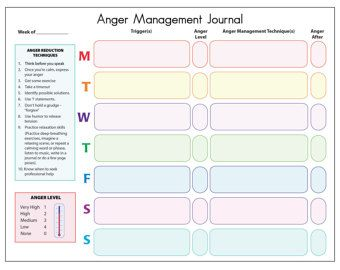 Page Stress Reduction Tracker Printable Journal Chart Guide
