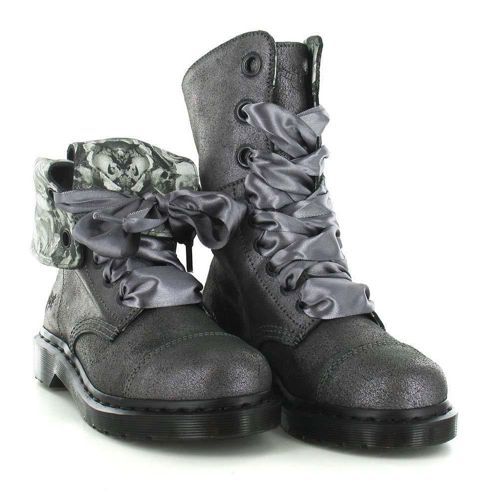 Doc Martens AIMILIE Triumph Metallic Grey Foldover 9-Eye Boots 2 Laces NEW  Wms in