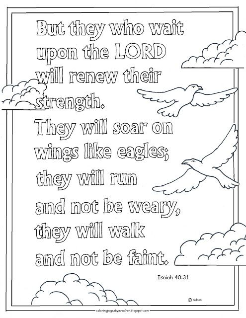 Coloring Pages For Kids By Mr Adron Printable Page They That Wait On The Lord Bible Verse Isaiah 4031
