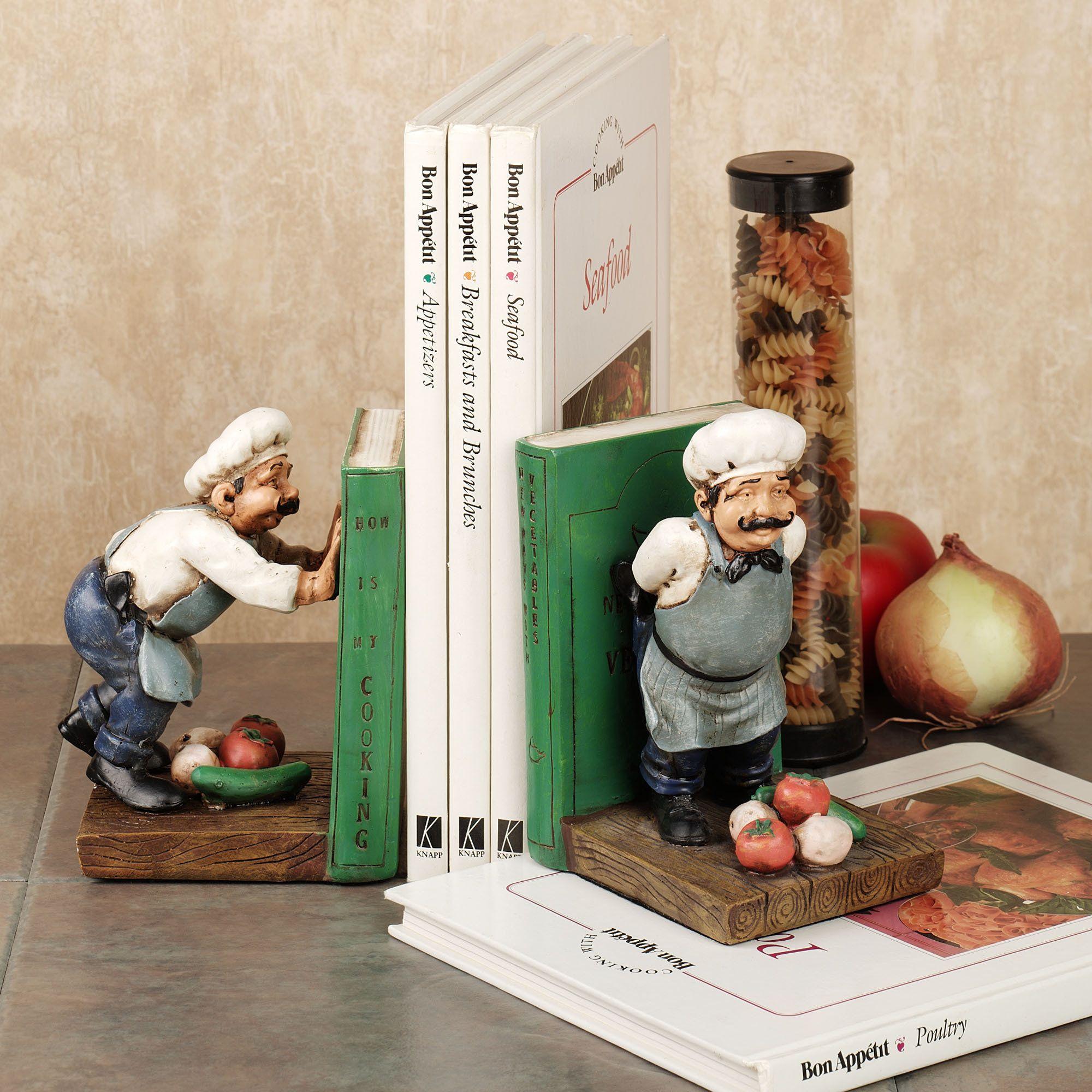 Push & Shove Chef Bookends. Matches My Kitchen Deco