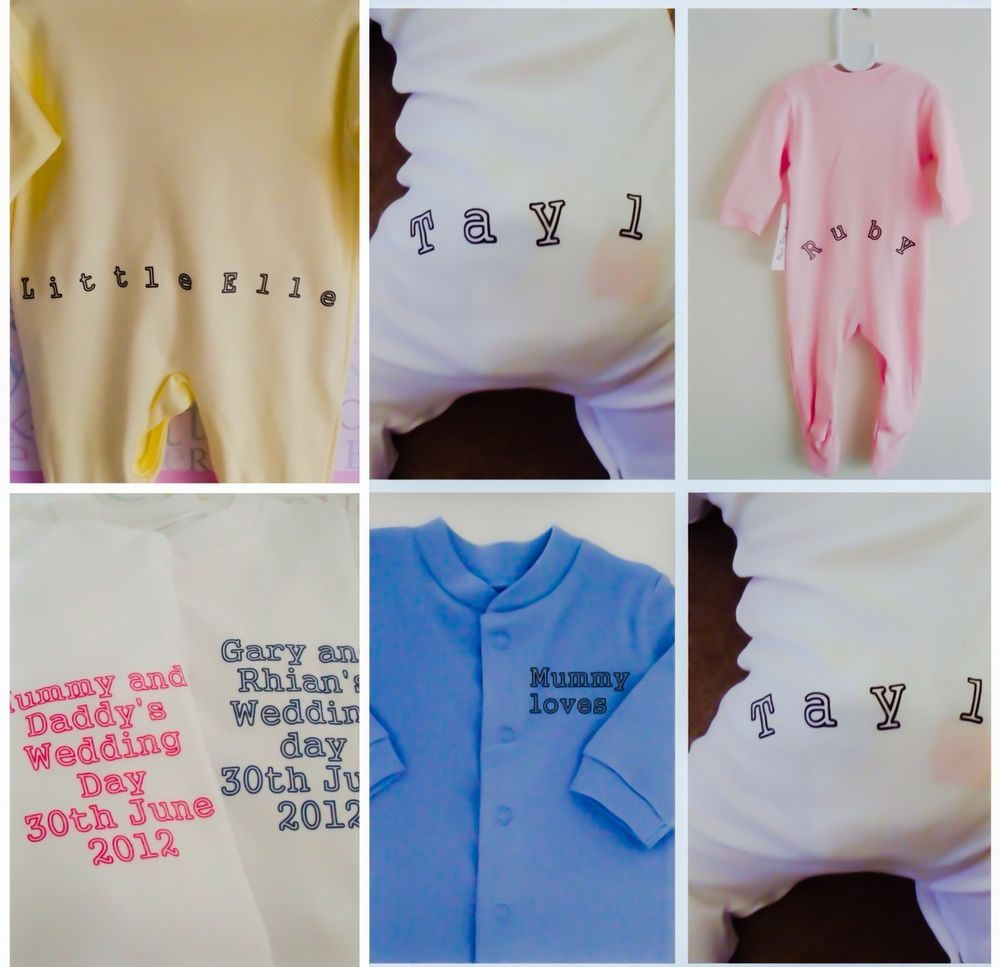 2c382b1105fb Details about Funky PERSONALISED FRONT BACK babygrow sleepsuit great ...
