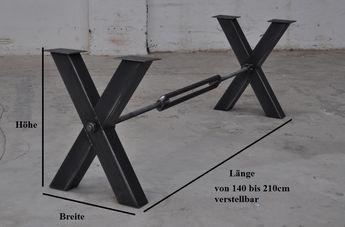 2No Stahlkreuz Tisch-Untergestell Brace mit Querstrebe