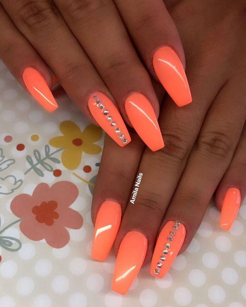 36 Stunning Orange Nails Art Designs In Summer 2019 Orange Nail Art Neon Nail Art Designs Neon Nails