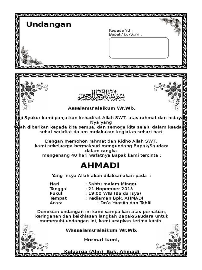 download undangan tahlil 40 hari ms word | undangan tahlilan | Pinterest