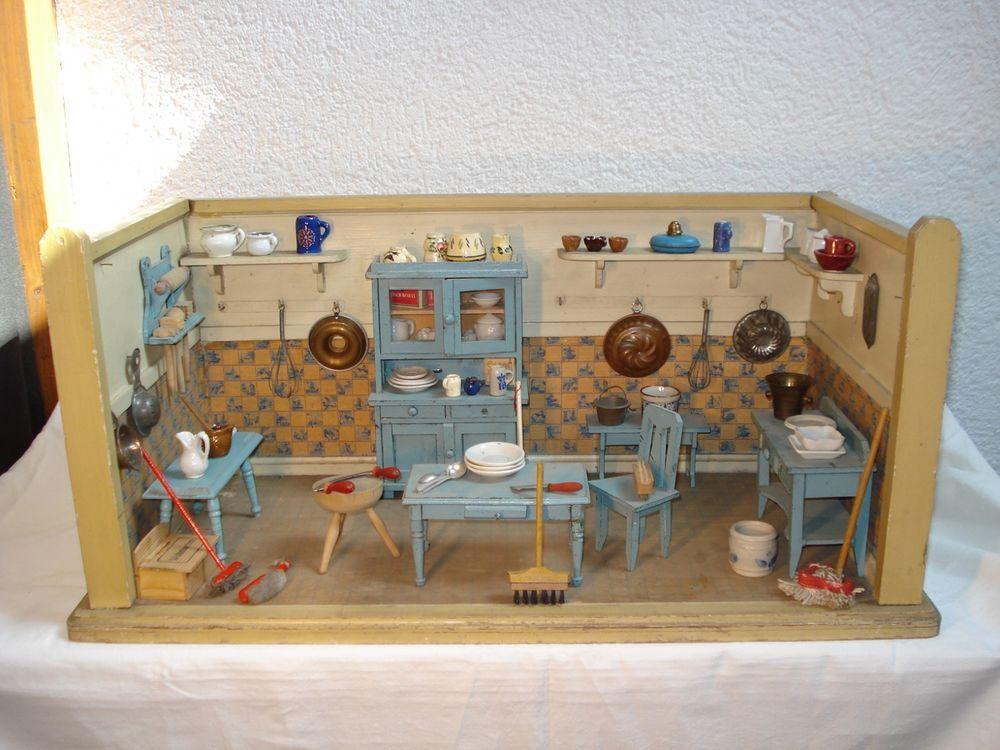 Alte Puppenküche um 1900, Manufaktur, schöne mittlere Größe