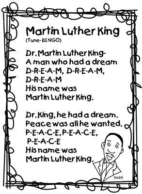 Martin Luther King Song To Bingo Cute Martin Luther King Activities Martin Luther King Jr Activities Preschool Songs