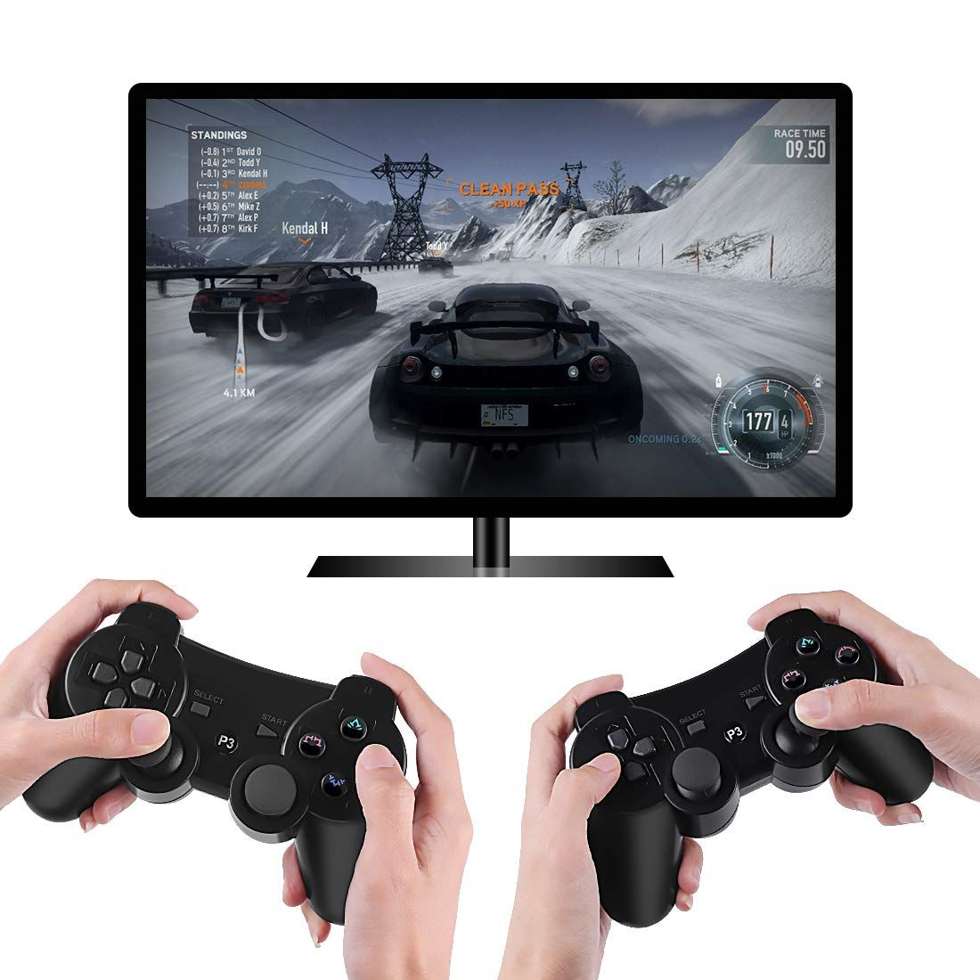 Kolopc 2 Packs Wireless Controller Gamepad Remote For Ps3 Playstation 3 Double Shock Bundled With Usb Charge Cord Wireless Controller Ps3 Controller Wireless