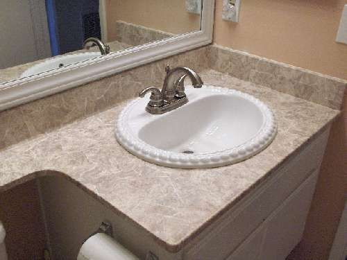Tuscan Marble Laminate Countertop With White Sink New Home - White bathroom countertop material for bathroom decor ideas