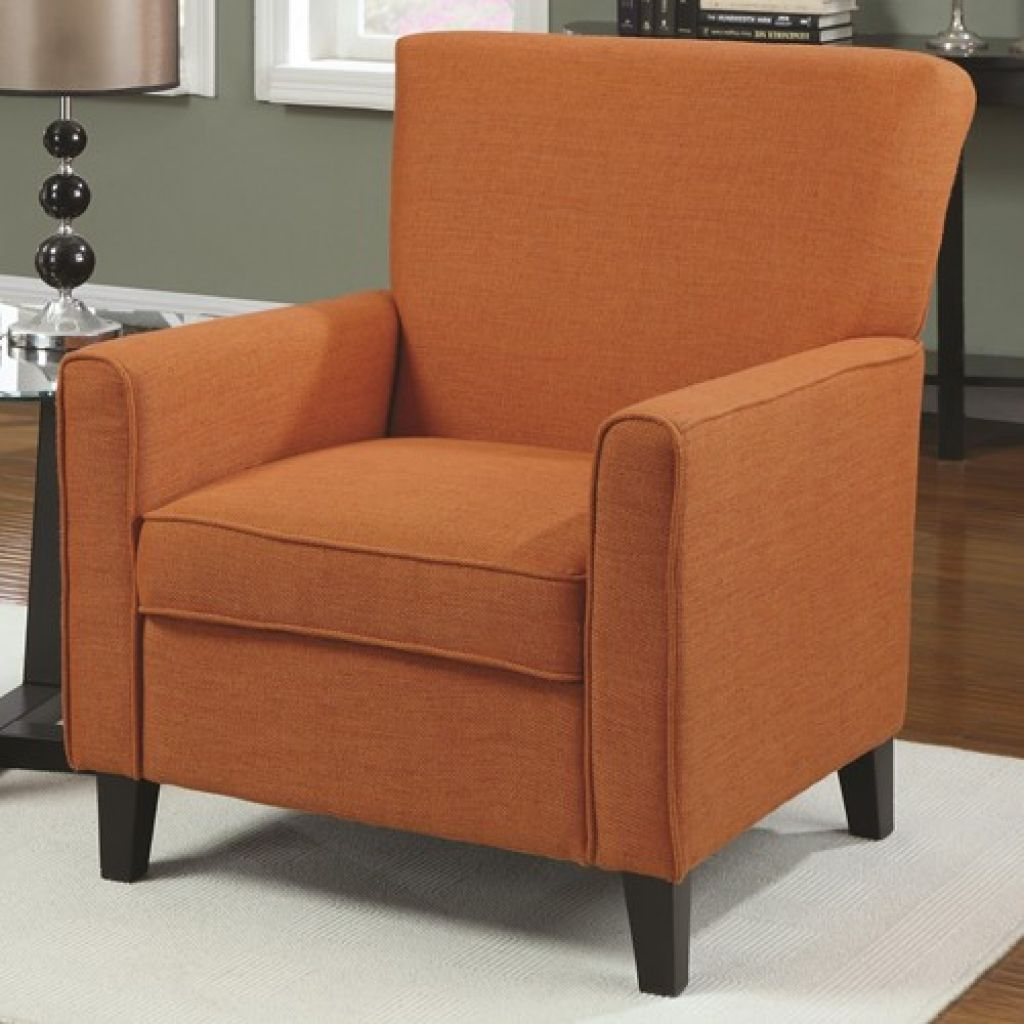 Floating Red Wine Velvet Acrylic Arm Accent Chair: Accent Seating Orange Accent Chair With Contemporary
