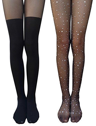 AM Landen®SEXY Mock Suspender Garter Stocking Tights ROSE in BLACK