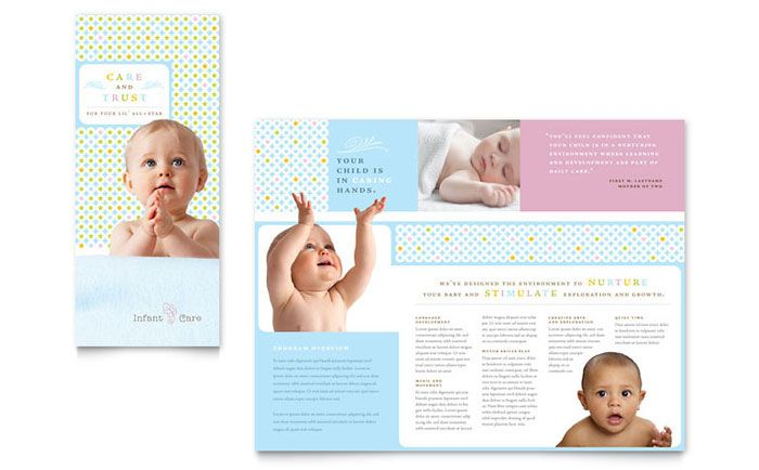 Infant Care and Babysitting Brochure Template Design by - school brochure template