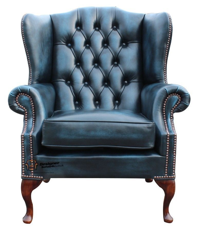 Chesterfield Flat Wing Queen Anne High Back Fireside Chair Antique Blue  LeatherChesterfield Flat Wing Queen Anne High Back Fireside Chair Antique  . Antique Queen Anne Upholstered Chairs. Home Design Ideas