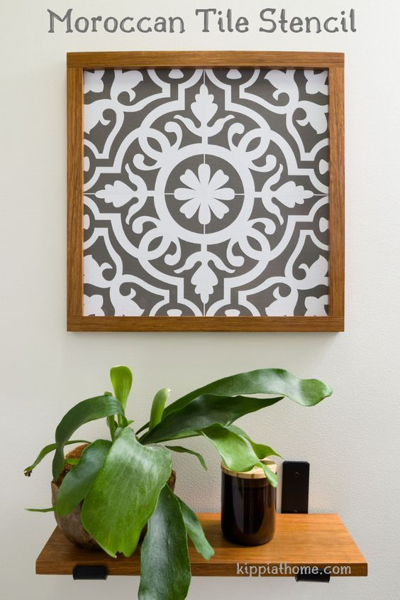Blukatkraft Diy Quick Easy Wall Art For Bathroom: Moroccan Pattern Faux Tile, Cricut Maker Stencil, Easy DIY